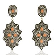 Moon Stone Antique Dangle Earrings 6.29ct Pave Diamond 14k Gold Silver Jewelry
