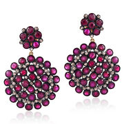 17.4ct Natural Ruby Diamond 14k Gold 925 Sterling Silver Dangle Earrings Jewelry