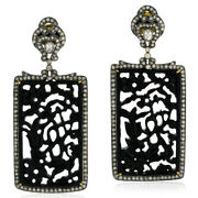 2.6ct Pave Diamond Gemstone Dangle Earrings Gold Sterling Silver Carving Jewelry