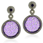 Carved Amethyst 3.31ct Diamond Gold 925 Sterling Silver Dangle Earrings Jewelry