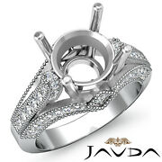 0.80 Ct Round Diamond Engagement Milgrain Tripple Shank Semi Mount Ring Setting