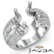 1.15ct Round Baguette Semi Mount Diamond Engagement Ring Channel Micro Pave Set