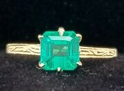 Vintage 14k Yellow Gold Engagement Ring 1.10ct. Green Emerald Circ 1920's