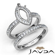 Marquise Halo Micro Pave Diamond Semi Mount Engagement Ring Bridal Sets 0.95ct
