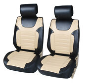 Non-slip Pu Leather 2 Car Seat Cushion Covers To Truck Suv Bk/tan