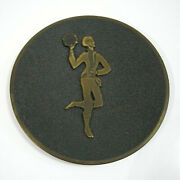 Israeli Vintage 50-60s Small Hakuli Signed Brass Plate 7.5and039and039 Tray W/ Dancer
