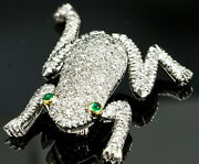 Vintage Frog Brooch/pin 18k White Gold Diamond And Emerald Articulated Arms/legs