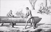 Indians Of Florida A Manner Digging Boats - Engraving From 19th Century