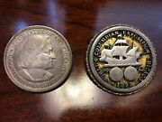 Extremely Rare 1893 Columbian Expedition Commemorative Brooch And Coin