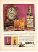 Vintage Advertising Print Alcohol Old Charter Kentucky Bourbon French Clocks Ad