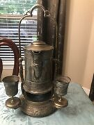 Tilting Water Pitcher, Victorian Antique With 2 Goblets