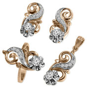 14k Rose And White Gold Diamond Ring, Earrings And Pendant In Russian Jewelry Set
