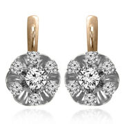 Russian Jewelry Genuine Diamond Earrings 14k Solid Two-tone Gold Rose-white