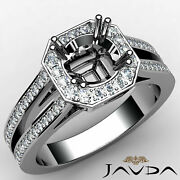 Halo Hexagon Cut Setting Round Diamond Engagement Ring Semi Mount 0.96ct.