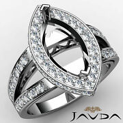 0.79ct. Halo Pave Set Split Shank Marquise Diamond Engagement Ring Semi Mount