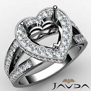0.72ct. Circa Halo Pave Set Diamond Engagement Heart Semi Mount Filigree Ring