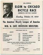 Broadsheet 24th Annual Elgin To Chicago Bicycle Race .. 1950