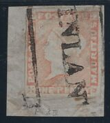 Mauritius Nr. 3 In Red Colour Post Paid Very Nice Clear Cancelled