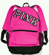Victoria's Secret Pink New Campus Backpack Neon Hot Pink W/bling