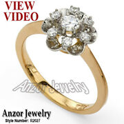 Russian Jewelry 14k Solid Rose And White Gold Genuine Diamond Ring