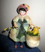 Antique Cotton Easter Girl/ Chick In Basket Ornament/ Girl -germany