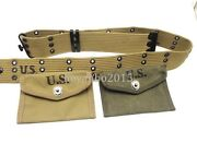 Wwii Us Military Army Canvas Equipment Belt First Aid Pouch 1943 Khaki And Green