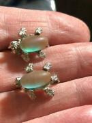 Vintage Gold Stone Saphiret Fly Bugs Earrings Oval Shaped Prong Set Magic Glass