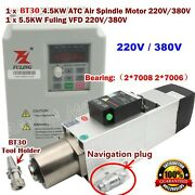 4.5kw 220/380v Atc Automatic Tool Change Bt30 Air Spindle Motor+5.5kw Inverter