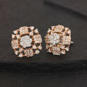 Solid 14k White And Rose Gold Natural 1.73 Ct Diamond Stud Earrings Handmade Fine