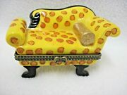 Vintage Victorian Couch Chaise Lounge Ceramic Trinket Box Jewelry Spotted Bows