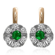14k Rose And White Gold Russian Style Genuine Emerald And Diamond Flower Earrings