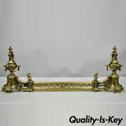 Antique French Louis Xv Brass Bronze Flame Finial Andirons W/ Adjustable Fender