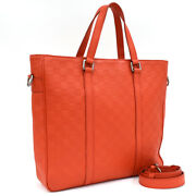 Auth Louis Vuitton Tadao Pm N41268 Tote Bag Red Leather