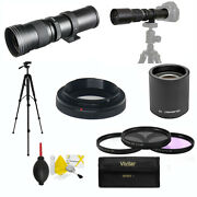 Hd Telephoto Zoom Lens 420-1600mm For Sony Alpha A6400 Tripod Filters Included