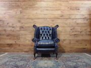 Brand New Chesterfield Queen Anne Armchair In Blue Leather.