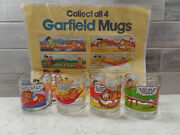 1978 Mcdonalds Garfield Glasses Set Of 4 Includes The Tray Liner Adervertising