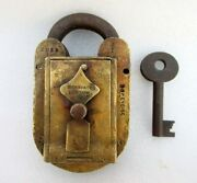 Antique Old Rare Solid Brass Hobbs And Co. B O Excise 205 Custom Padlock London