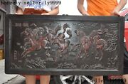 China Redwood Wood Carved Figure Eight Horses Book Screen Plaque Inscribed Board