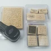 Stampin Up Lg Oval Whale Paper Punch Rubber Stamps French Script Alpahbits Lot 4