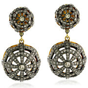 3.85ct Pave Diamond Dangle Earrings 18kt Gold Sterling Silver Handmade Jewelry