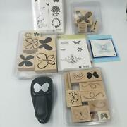 Stampin Up Flight Butterfly Punch Rubber Stamp Bliss Reason To Smile Lot 6