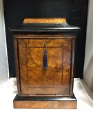 Unique Small Wooden Antique Writing Desk With Two Inkwells