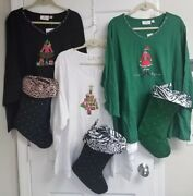Quacker Factory 3x Nwt 3/4 Sleeve Holiday Top W/stocking - Green White Or Black