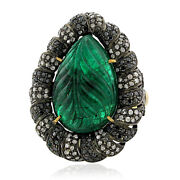 18k Gold 14ct Emerald Diamond 925 Sterling Silver Carving Ring Cocktail Jewelry