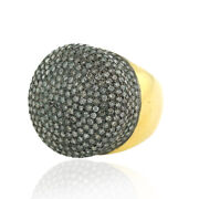 5.74 Ct Pave Diamond 14kt Yellow Gold Dome Ring 925 Sterling Silver Gift Jewelry
