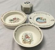 Lot Of 4 Wedgewood Of Etruria And Barlaston Peter Rabbit Dishes, Bowls And A Bank