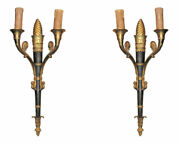 Pair French Empire Style Bronze Sconces