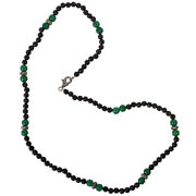 Onyx Carving Bead 925 Sterling Silver Fashion 2.47ct Diamond Clasp Necklace