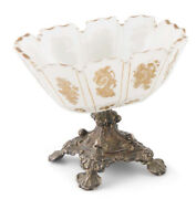 Antique 19th Century Venetian Silver And White Coloured Glass Bowl On A Stand.