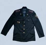 Russian Police Of The Ussr. Police Uniform Jacket And Two Badges Set.